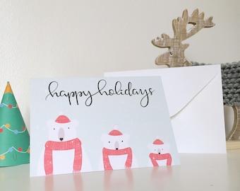 Christmas card * polar bears *.