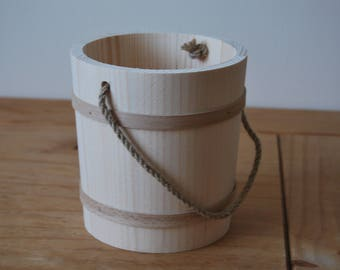 Wooden Bucket in Diameter 15 cm with Cord as a Handle
