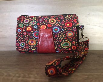 Pearl Wallet, Wristlet, Zippered Coin Pouch, Kaffe Fassett, Red Faux Snake Leather, Red Vinyl