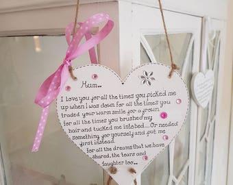 Double heart mum plaque
