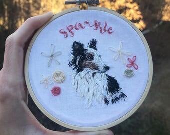 Custom Pet Portrait Embroidery Hoop