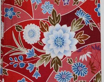 Japanese Cotton Fabric 50cm / Handkerchief - Red & Blue Floral