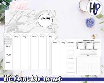 B6 Vertical Week on 4 Pages Undated Printable Inserts! Style C  *DIGITAL*