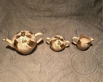 SADLER Cream and Gold Swirl teapot set 1697 JF