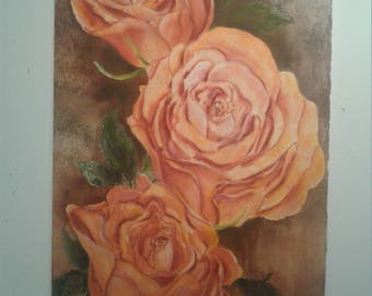 Coral Roses Watercolor Painting