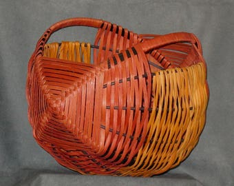 Brandywine and Tan Scottish Yarn Basket