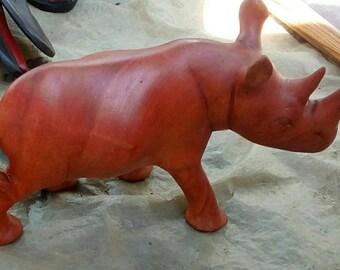 Wooden sculpture,wooden rhino,rhino statue,animal decor,hand crafted sculpture,vintage,fingurine