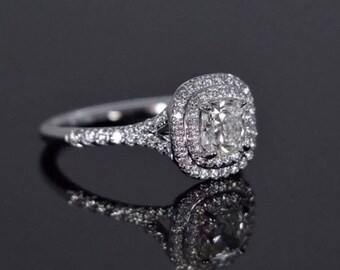 Split Shank Cushion Halo GENUINE Diamond Engagement Ring VS2-SI1 F 14K WG 1.57Ct.