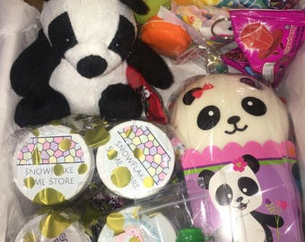 MYSTERY BOX SLIMES! Free Shipping! Contains 4 different slimes! 4 ounce containers! Includes treats, Panda Bun Squishy and a panda bear plus