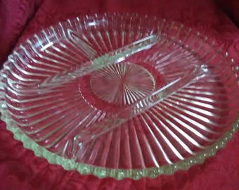 Vintage clear 4 sectioned relish tray.
