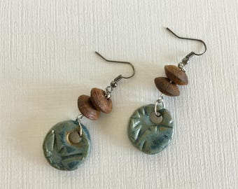 Natural Clay and Wood Beads Hand Crafted Drop and Dangle Earrings
