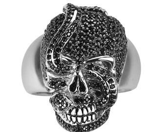 Sterling Silver Snake Skull Ring for Men with Black Spinels
