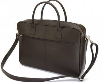 Mj Bruno  Leather Business Bag Brown Color
