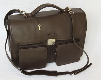 MJ Leather Bag Handmade in Morocco,Brown Color Leather Goods