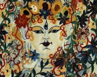 Head of White Tara-Buddhism-oil painting of 2004 size 54 cm x 54 cm