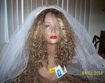 vintage white 2 tier headband bridal headpiece 2 2 ft tiers