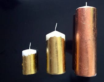 Candles filled with metal, copper or brass