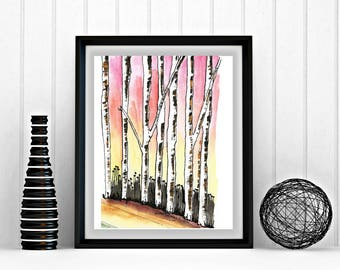 Abstract art, 8 x 10, printable art, birch trees, sunset, ink and watercolor, print at home, downloadable art, download, whimsical, colorful