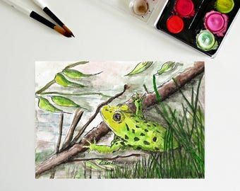 5 x 7, Green Frog, art printables, ink and watercolor, downloadable art, printable art, frog, whimsical, tiny painting, happy, fun, cute