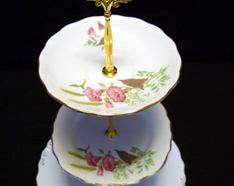 Upcycled English vintage china cake stand - 2 or 3 tier for high tea or Mad Hatter tea party