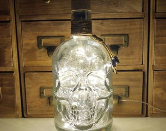 Silver Mercury Effect Pirate Skull Glass Bottle Lamp Warm White LEDs