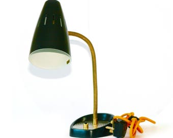 Black and Brass Mid-Century Retro Lamp – Fully Restored