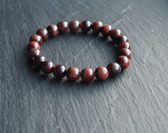 All Natural Red Tiger Eye Stretch Cord Bracelet - Healing and psychic properties