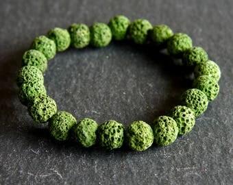 Spiritual Lava Rock Healing Diffuser Yoga Bracelet Light Weight Dyed Fern Green