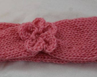 Knitted Pink Flower Headband