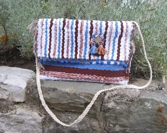 weaving bag,rag rug bag,handmade and unique bag, boho bag,crossboby bag