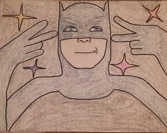 Adam West Batman Oil Pastel