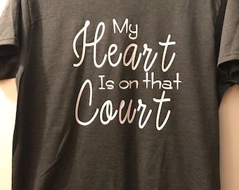 My heart is on that court iron on vinyl
