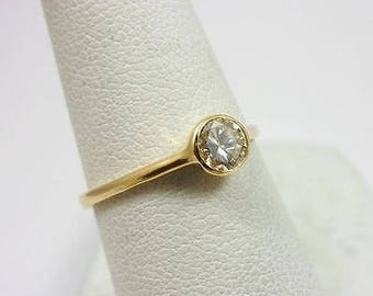 Solid 14K Yellow Gold 0.39 CT Bezel Set Diamond Solitaire Engagement Ring Size 7