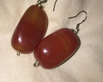 Carnelian and sterling silver earrings