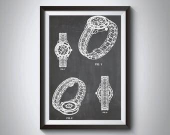 Luxury Watch Patent Poster, Fashion Art, Jewelry Art, Designer Wall Art