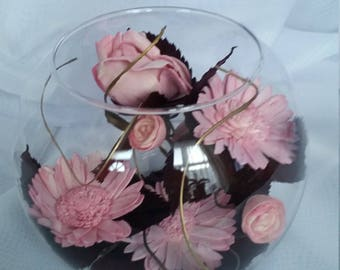 Vase Bowl Full of Pretty Pink  Flowers with Natural Burgundy Leaves and Gold Grass