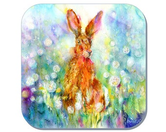 Jessica Hare - Hare Coaster (Corked Back). From an original Sheila Gill Watercolour Painting