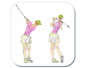 Lady Golfer - Golfing Coaster (Corked Back) From an original Sheila Gill Watercolour Painting