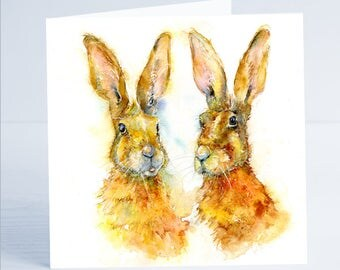 Golden Hares. Greeting Card - from an original Sheila Gill Watercolour Painting