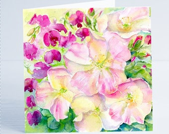 Sweet Pea & Roses Flower Greeting Card by Sheila Gill