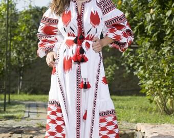 Vyshyvanka dress, White linen vyshyvanka Dress, Ukrainian dress, Ukrainian kaftan, Maternity gown, Embroidered Linen Dress, Mexican dress,