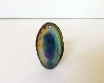 Blue yellow and Green Agate Slice Pendant. Semi-precious Freeform Gemstone Pendant