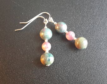 Sterling Silver Ruby Apatite and Lepidolite Earrings