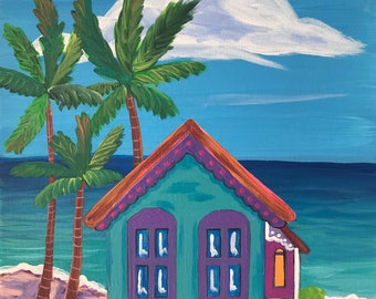 Blue Dream. Original Acrylic Painting. Caribbean House. Whimsical painting.