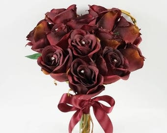 Silk Rose Bouquet Heart Bouquet Rose Bouquet Valentines Day Gift Holiday Bouquet Burgundy