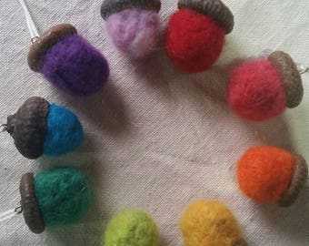 Felted wool acorn essential oil diffuser necklaces