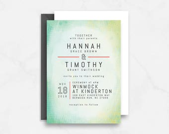 Modern Bold Wedding Stationery, with painted, abstract background / Customizable / Wedding Invitation Suite  // Printable PDF