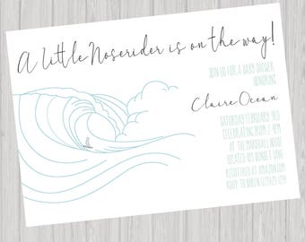 Little Noserider Surfer Baby Shower Invitation