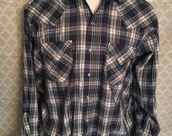 Vintage Ely Plains Plaid Pearl Snap Western Button Down Shirt / Cowboy Shirt / Western Snap shirt / 80s vintage shirt / western shirt XL