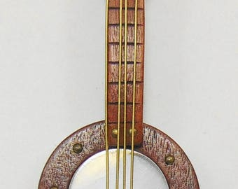Vintage Wood and Lucite Banjo Brooch Pin